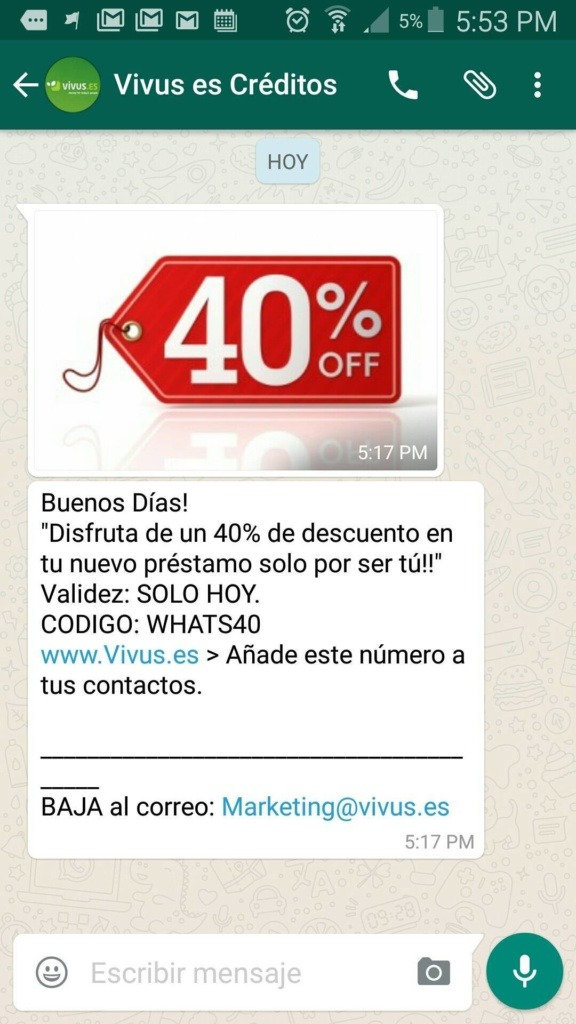 Vivus ya utiliza WhatsApp Marketing