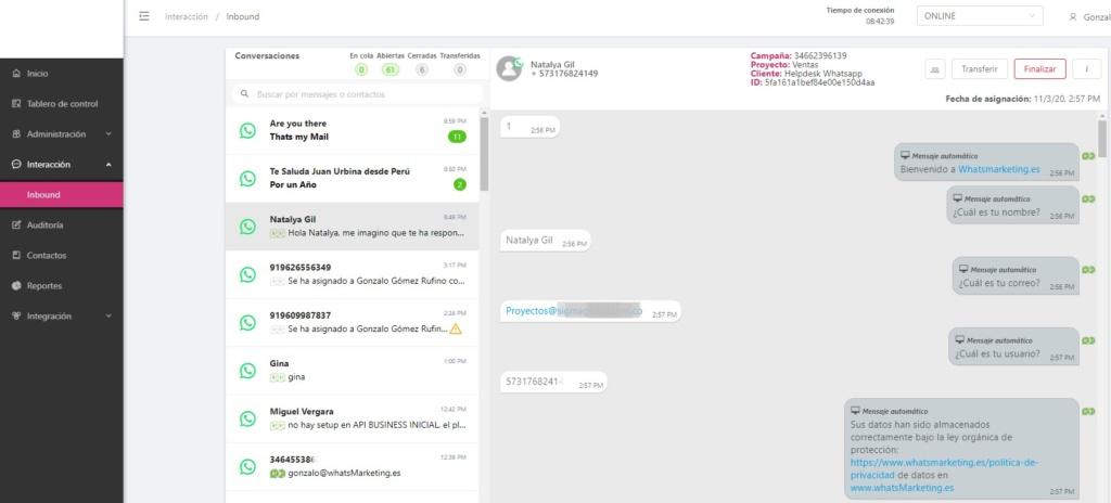 Plataforma de Atención al cliente vía Whatsapp